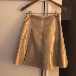 Kate Spade gold pleated skirt